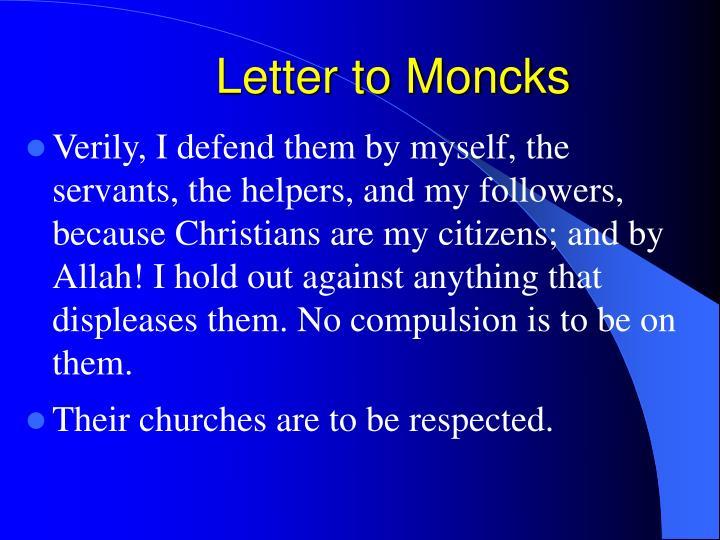 Letter to Moncks