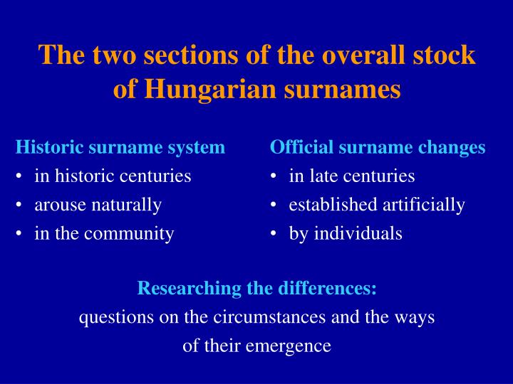 The two sections of the overall stock of hungarian surnames