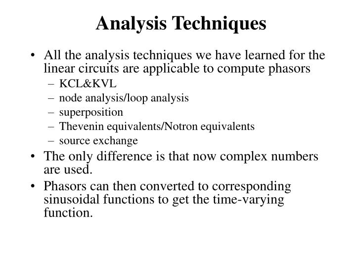 Analysis Techniques