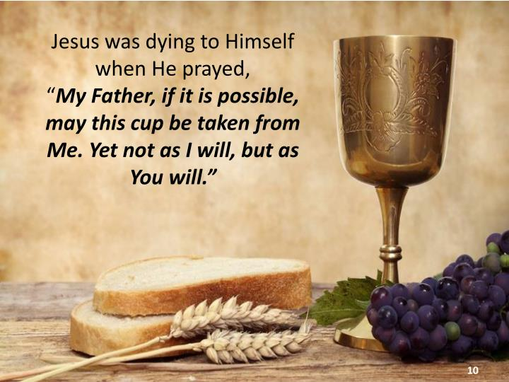 Jesus was dying to Himself when He prayed,