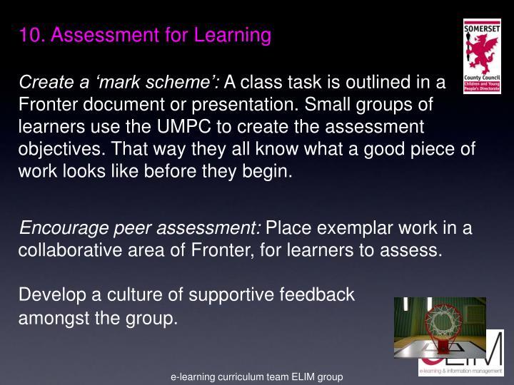 10. Assessment for Learning