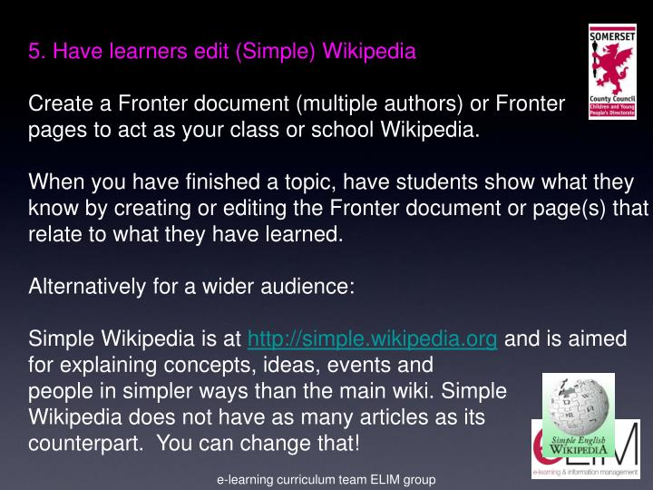 5. Have learners edit (Simple) Wikipedia