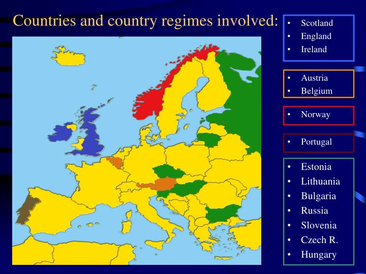 Countries and country regimes involved