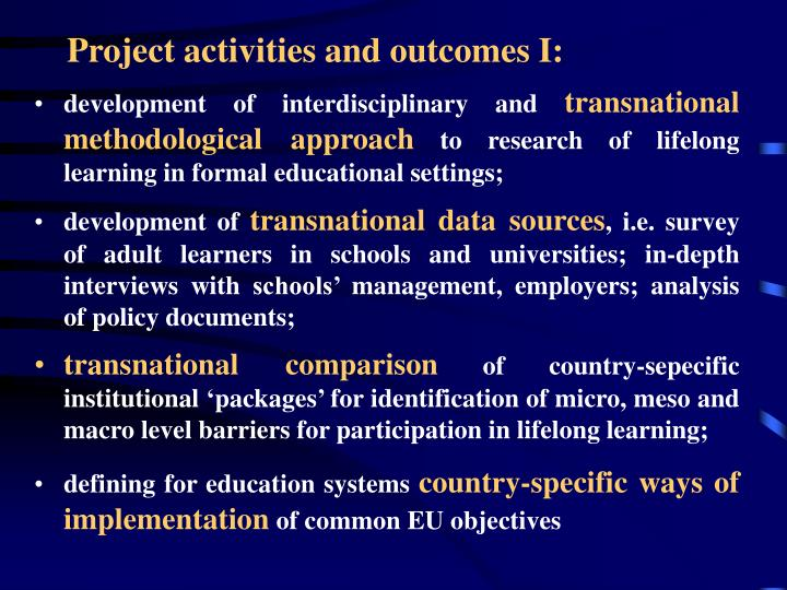 Project activities and outcomes I: