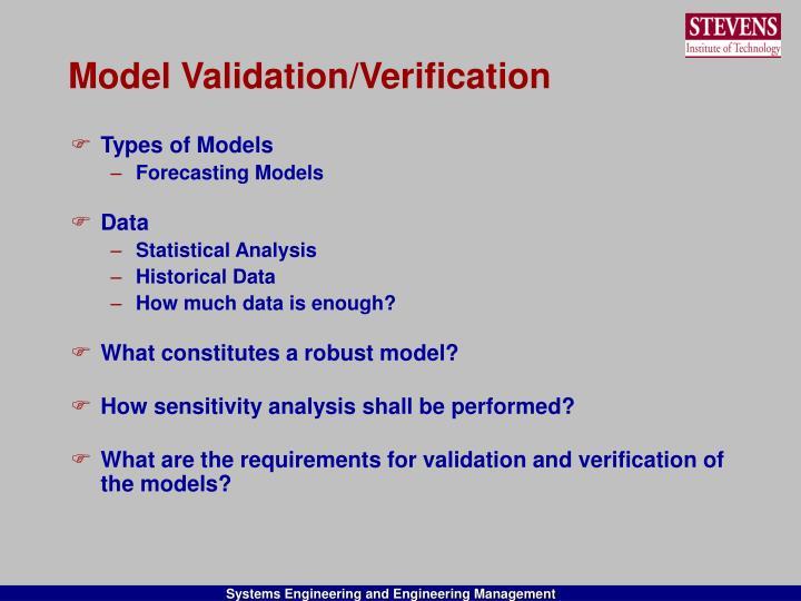 Model Validation/Verification