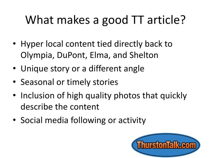 What makes a good TT article?