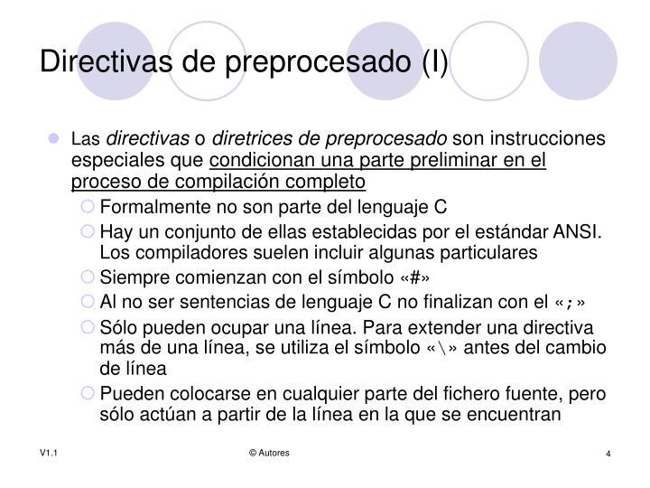 Directivas de preprocesado (I)