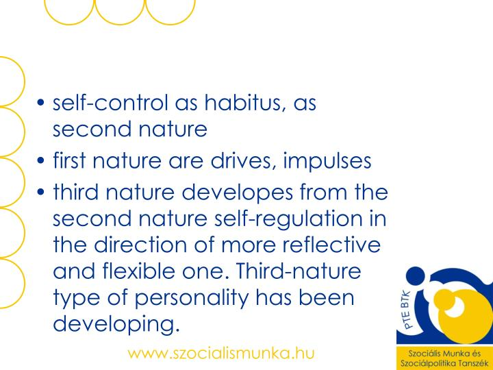 self-control as habitus, as second nature