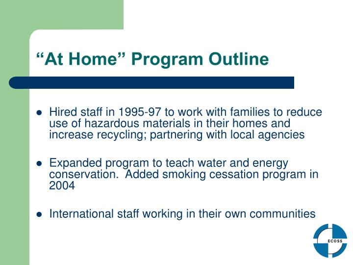 """At Home"" Program Outline"