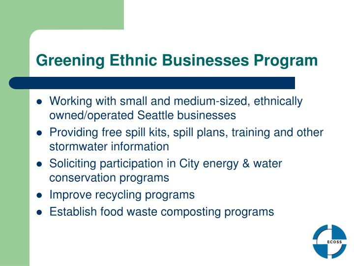 Greening Ethnic Businesses Program