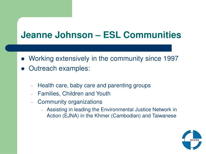 Jeanne Johnson – ESL Communities