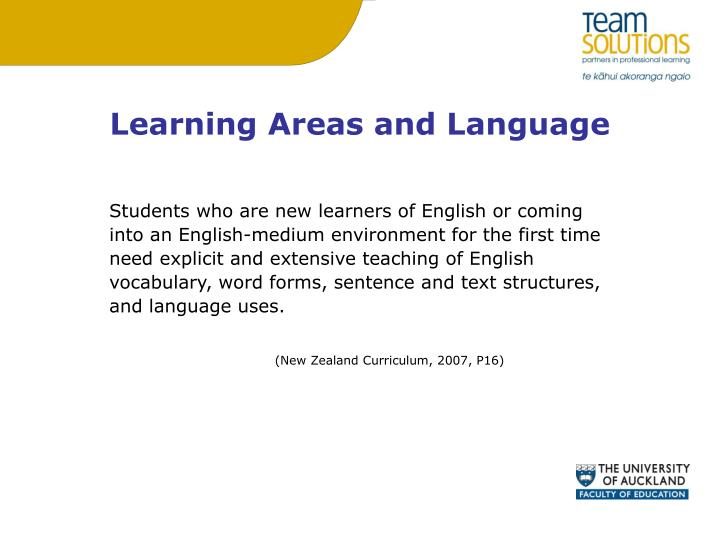 Learning Areas and Language