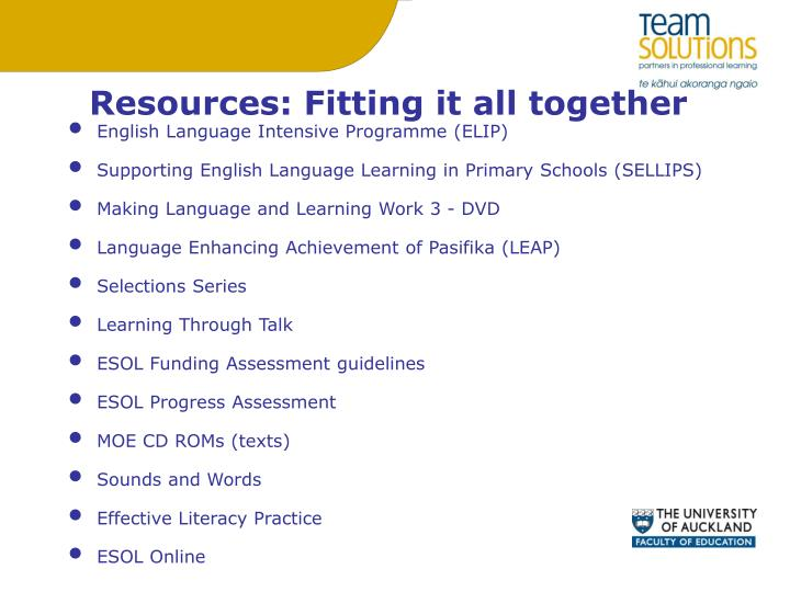 Resources: Fitting it all together