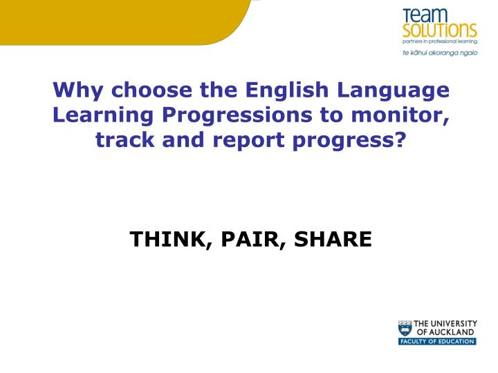 Why choose the English Language Learning Progressions to monitor, track and report progress?