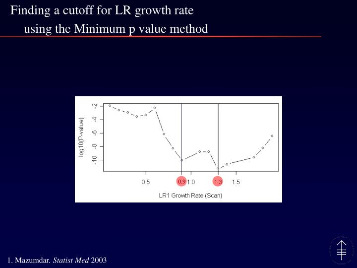 Finding a cutoff for LR growth rate