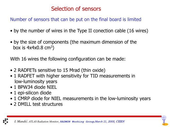 Selection of sensors