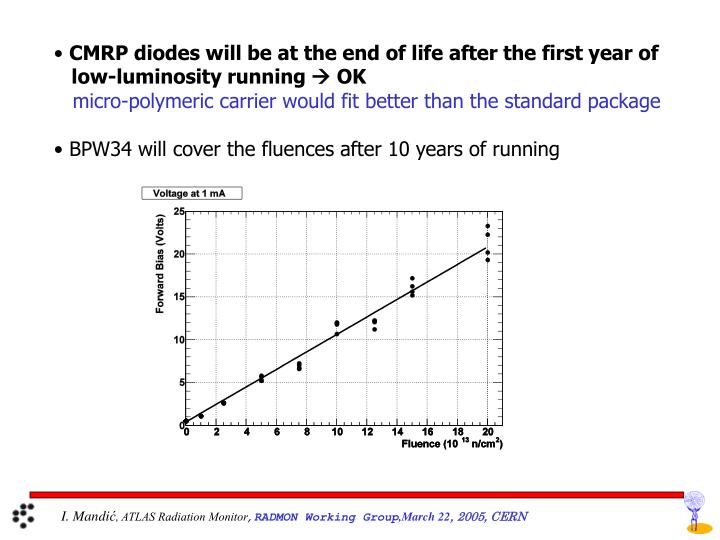CMRP diodes will be at the end of life after the first year of