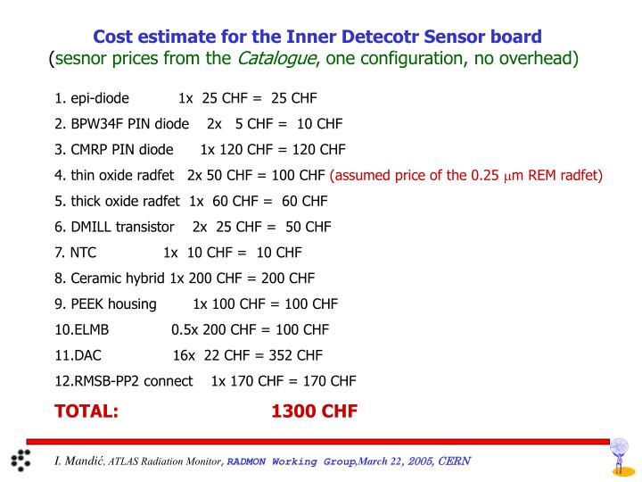Cost estimate for the Inner Detecotr Sensor board