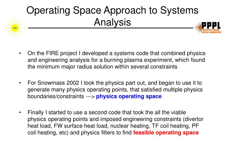 Operating space approach to systems analysis