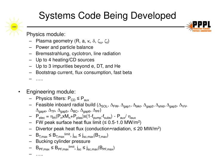 Systems Code Being Developed