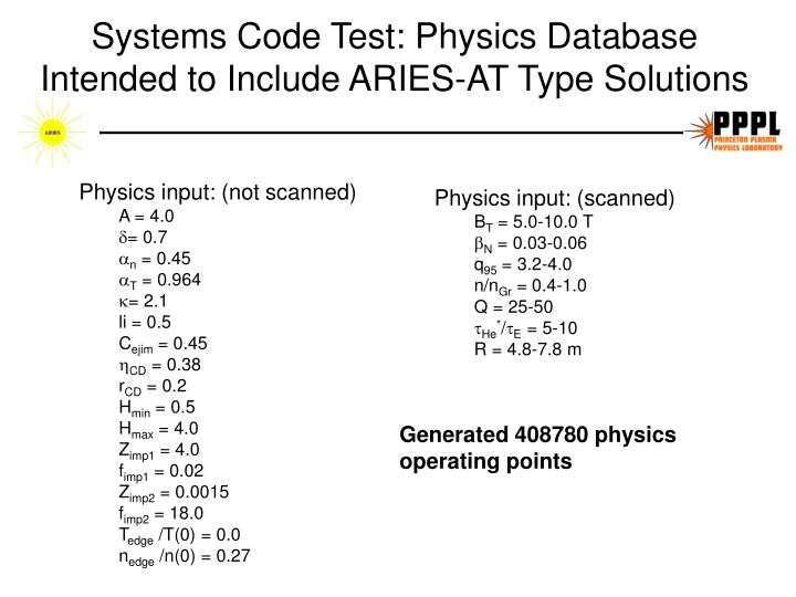 Systems Code Test: Physics Database Intended to Include ARIES-AT Type Solutions