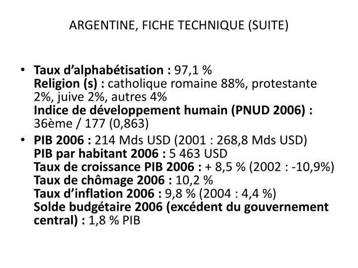 ARGENTINE, FICHE TECHNIQUE (SUITE)