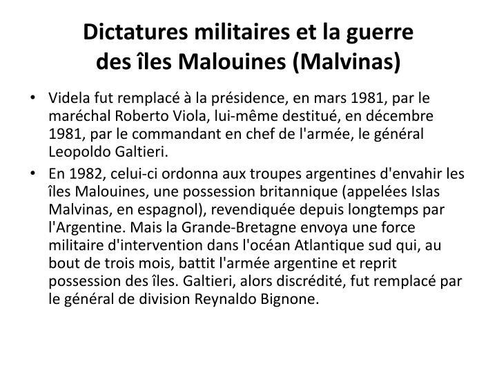 Dictatures militaires et la guerre