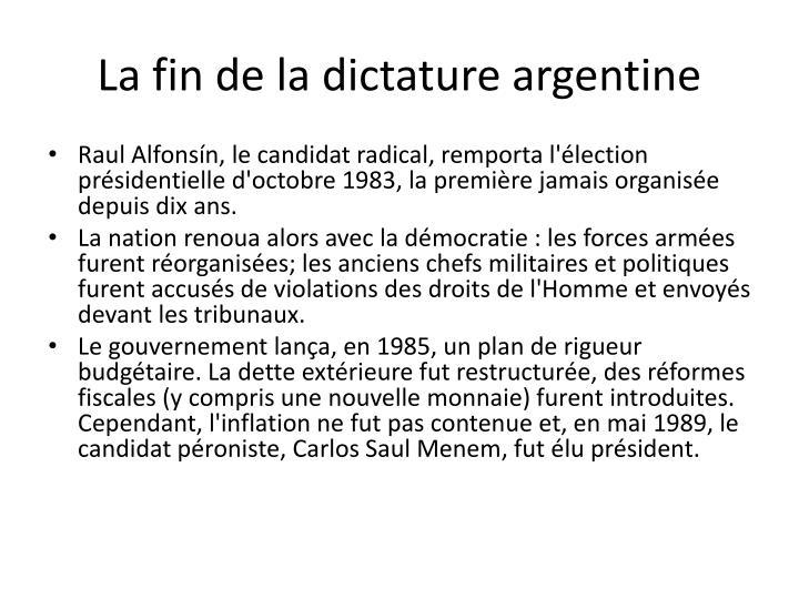 La fin de la dictature argentine