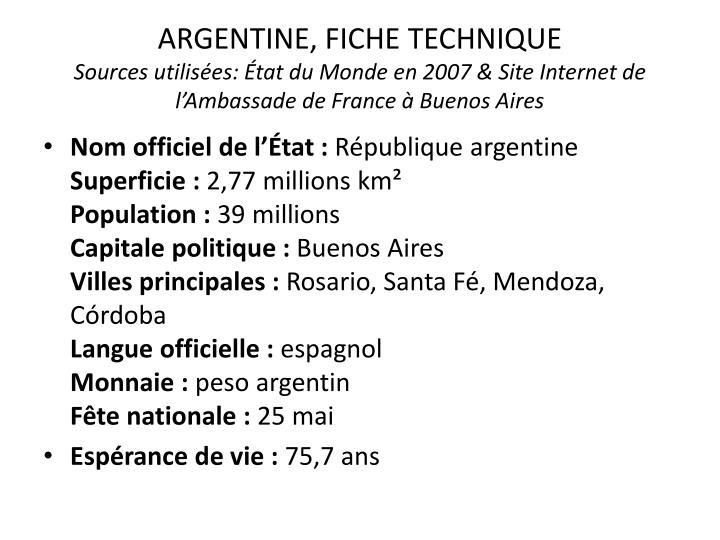 ARGENTINE, FICHE TECHNIQUE