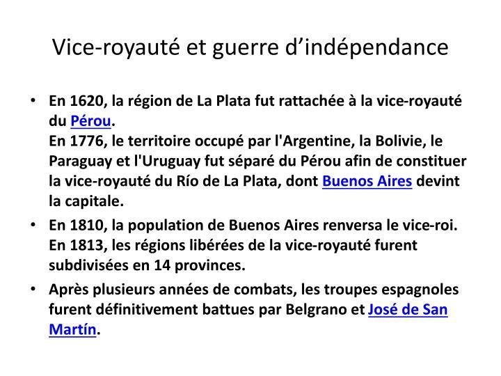 Vice-royauté et guerre d'indépendance