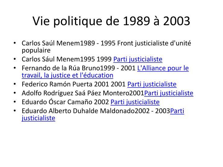 Vie politique de 1989 à 2003