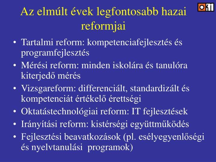 Az elmúlt évek legfontosabb hazai reformjai