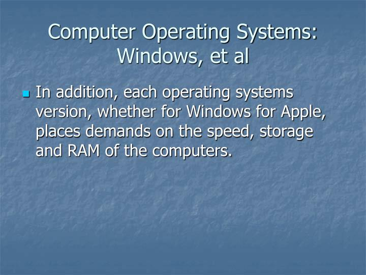 Computer Operating Systems: Windows, et al