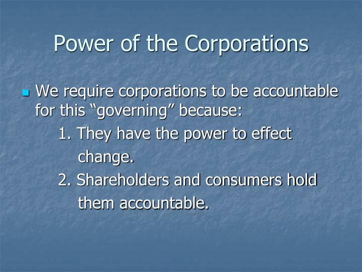 Power of the Corporations