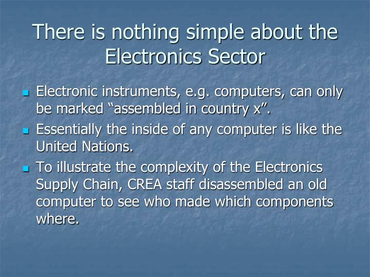 There is nothing simple about the  Electronics Sector