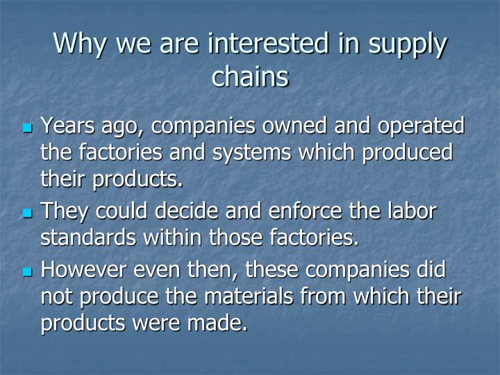 Why we are interested in supply chains