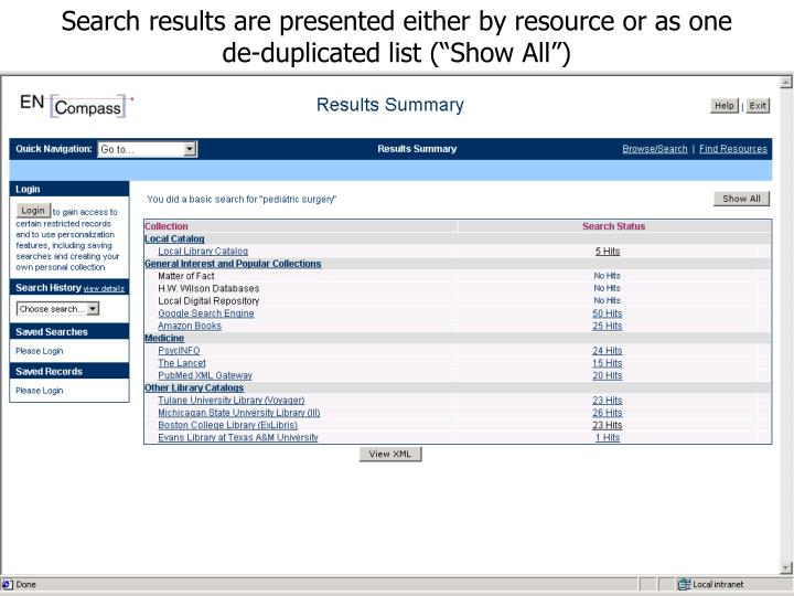 Search results are presented either by resource or as one