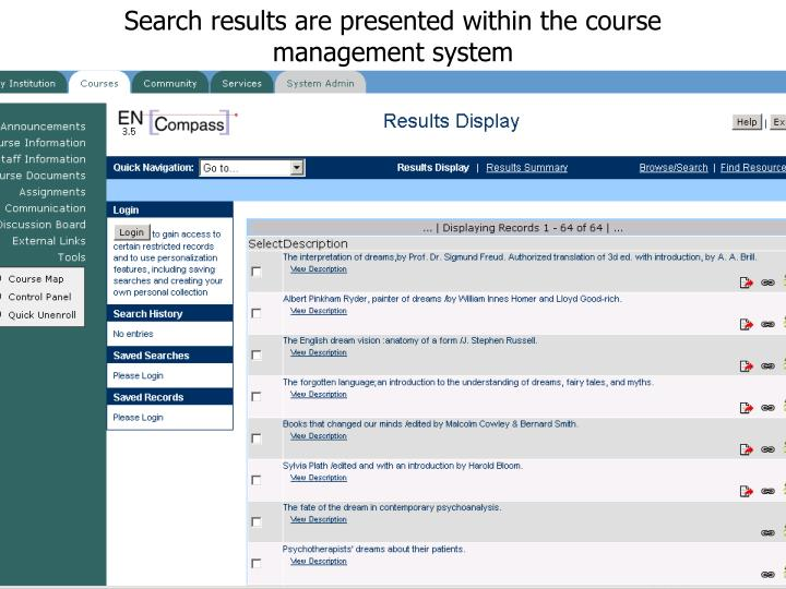 Search results are presented within the course