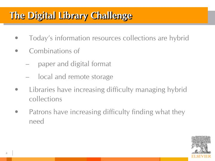 The Digital Library Challenge