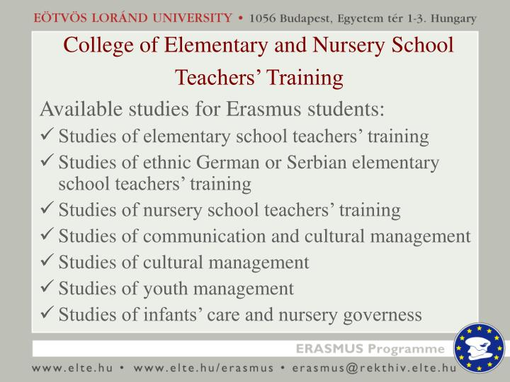 College of Elementary and Nursery School Teachers' Training