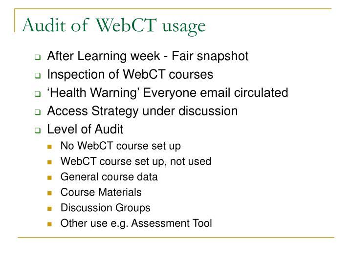 Audit of WebCT usage