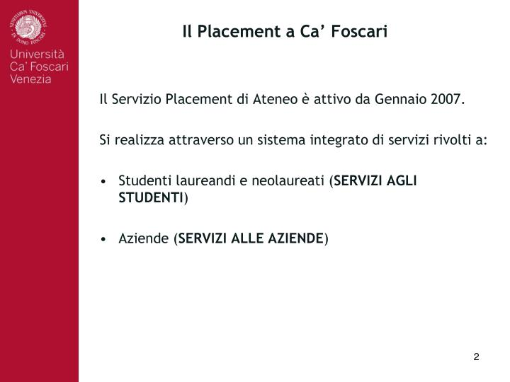 Il placement a ca foscari