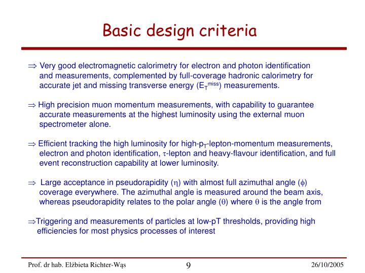 Basic design criteria