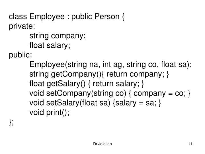 class Employee : public Person {