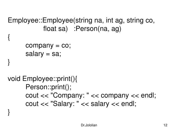 Employee::Employee(string na, int ag, string co,