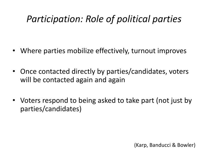 Participation: Role of political parties