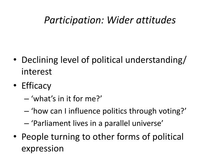 Participation: Wider attitudes