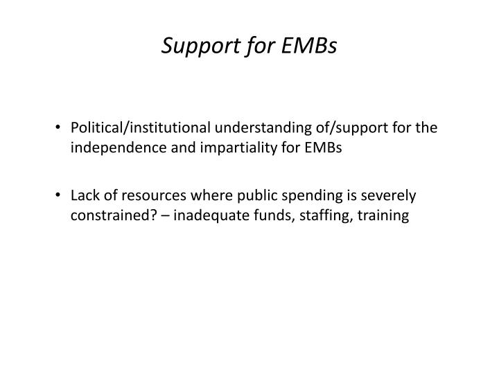 Support for EMBs