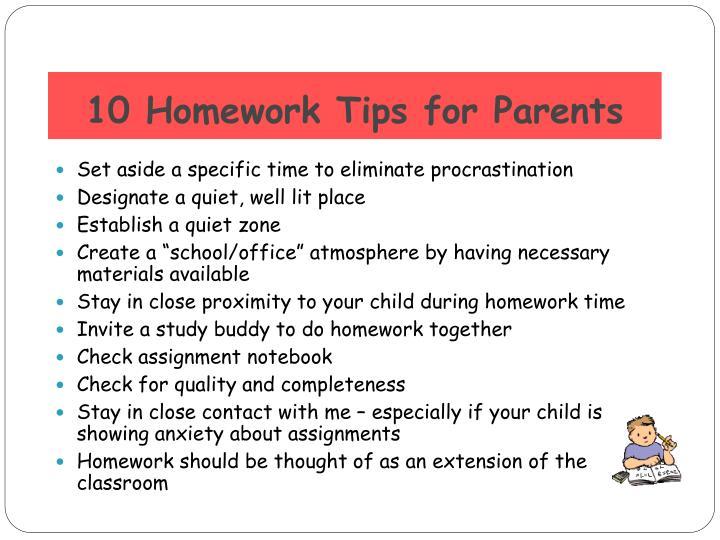 10 Homework Tips for Parents