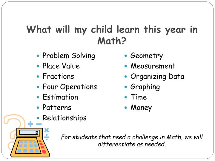 What will my child learn this year in Math?